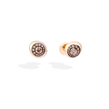 Nuvola Stud Earrings - Rose Gold 18kt, Brown Diamond