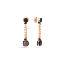 Earrings Nudo - Rose Gold 18kt, White Gold 18kt, Treated Black Diamond, Obsidian