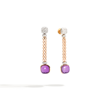Boucles D'Oreilles Nudo - Or Rose 18kt, Or Blanc 18kt, Améthyste, Diamant