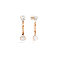 Earrings Nudo - Rose Gold 18kt, White Gold 18kt, Diamond, White Topaz, Mother-of-pearl