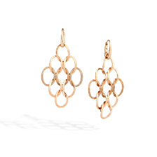 Brera chandelier earrings - Rose Gold 18kt, Brown Diamond